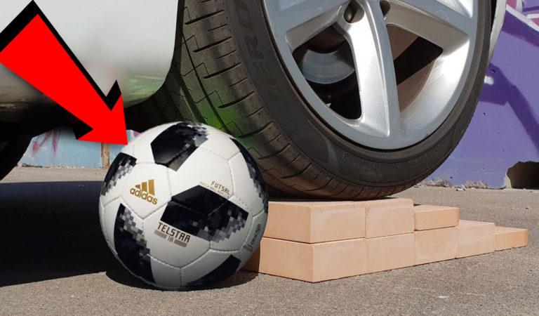 Co se stane, když přejedete fotbalový míč autem?